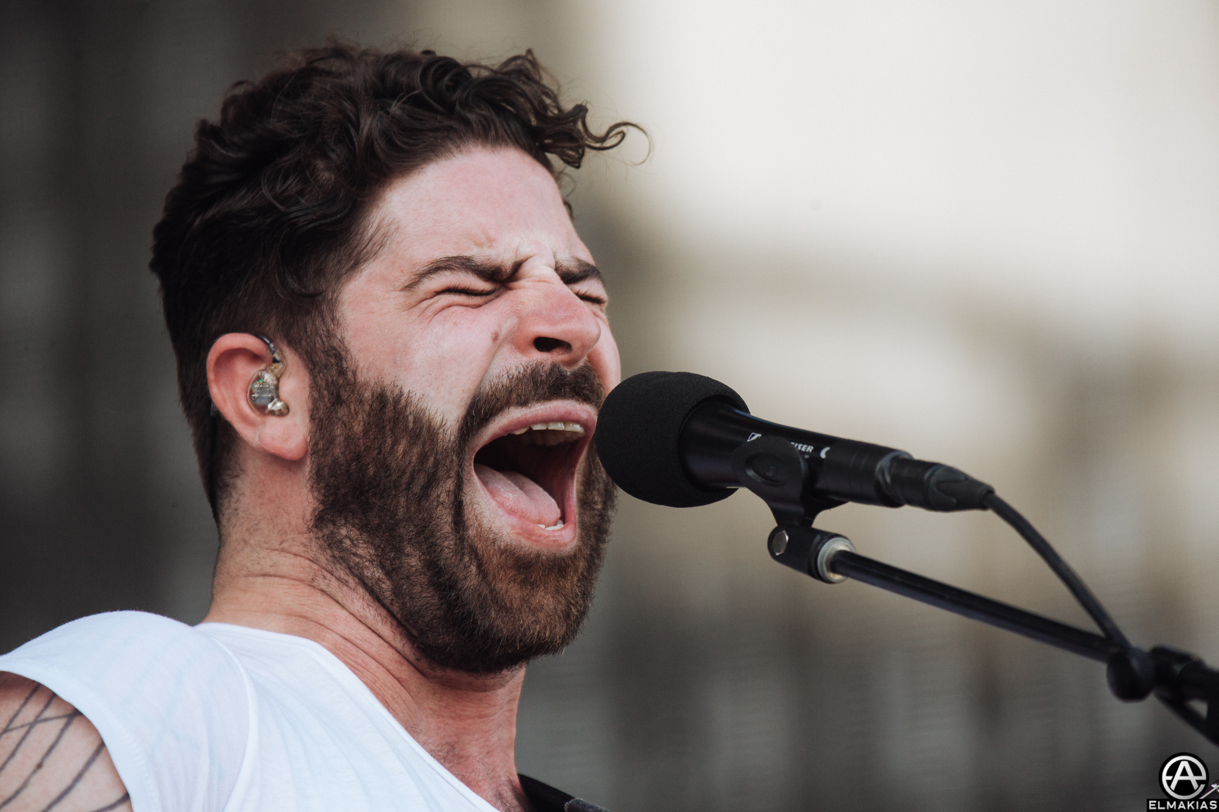 Yannis Philippakis of Foals at Coachella 2016 by Adam Elmakias