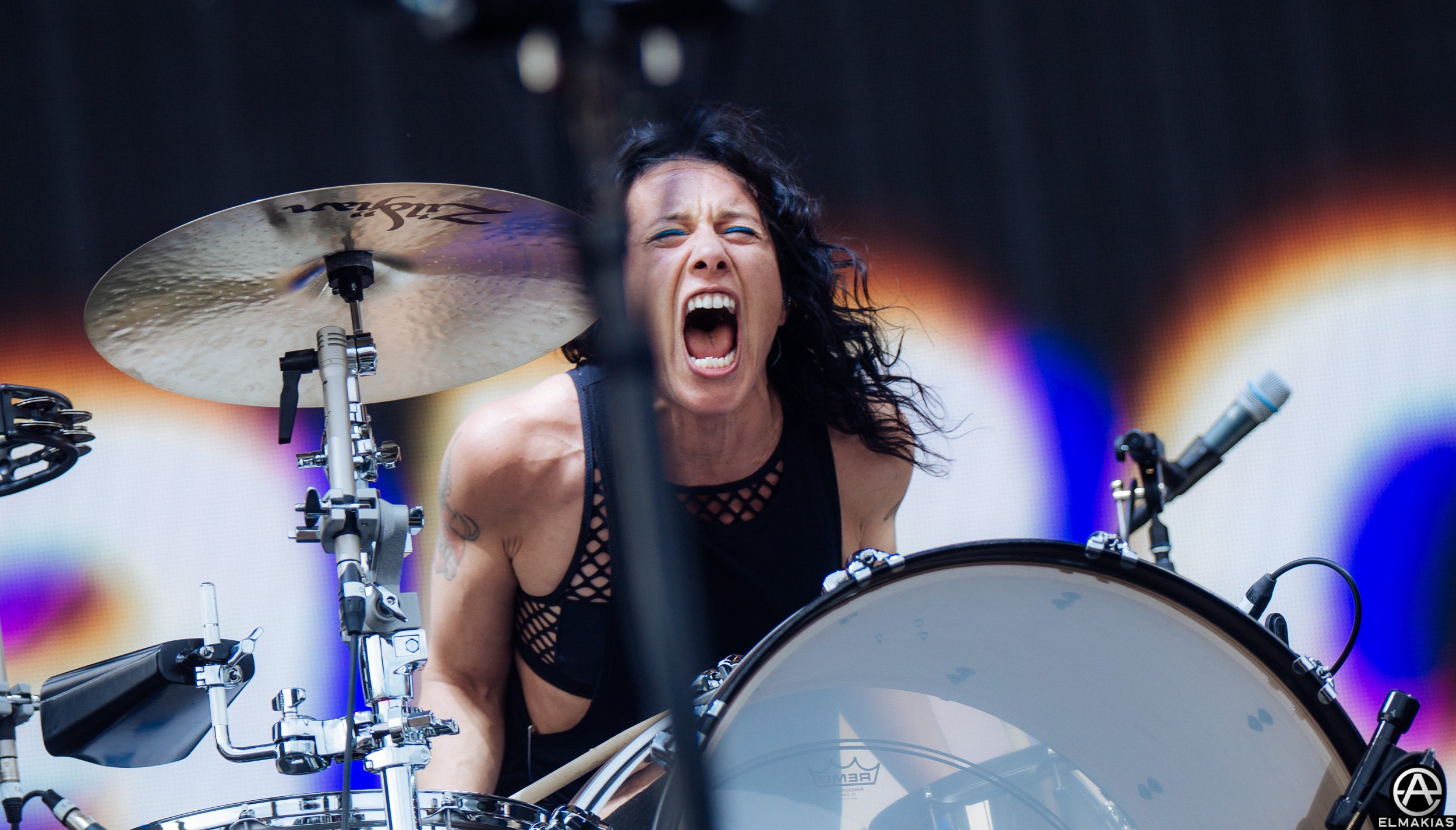 Kim Schifino of Matt and Kim at Coachella 2016 by Adam Elmakias