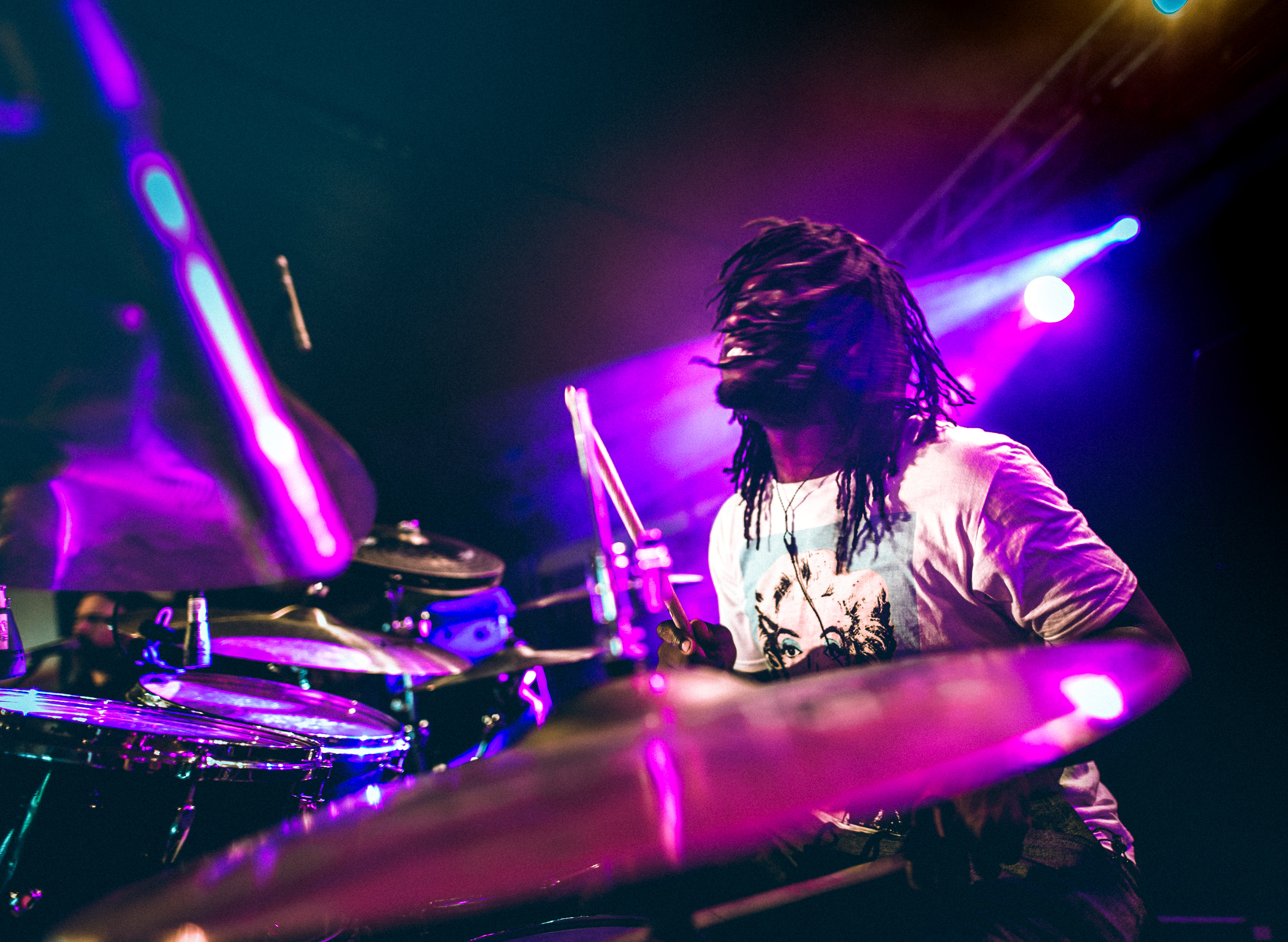 Thomas Pridgen of Giraffe Tongue Orchestra at Leeds Festival by Adam Elmakias