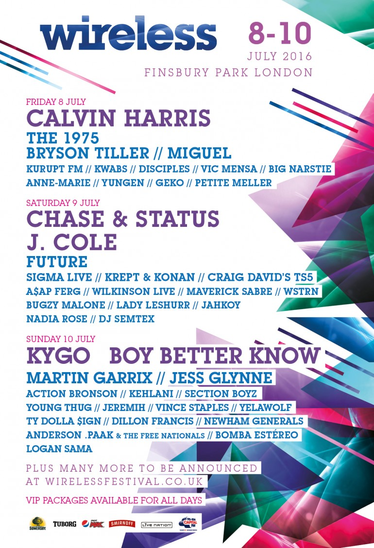 This is the line up for Wireless Festival