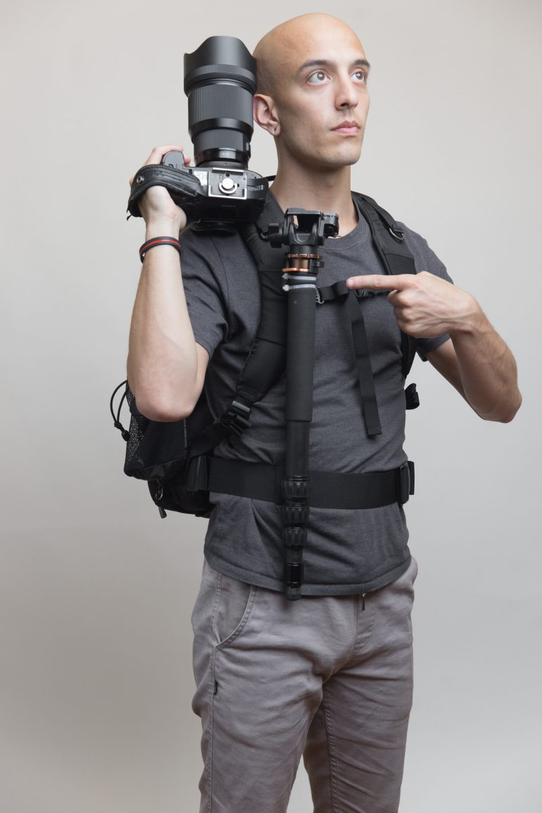 My monopod attached to a Think Tank Shapshifter bag