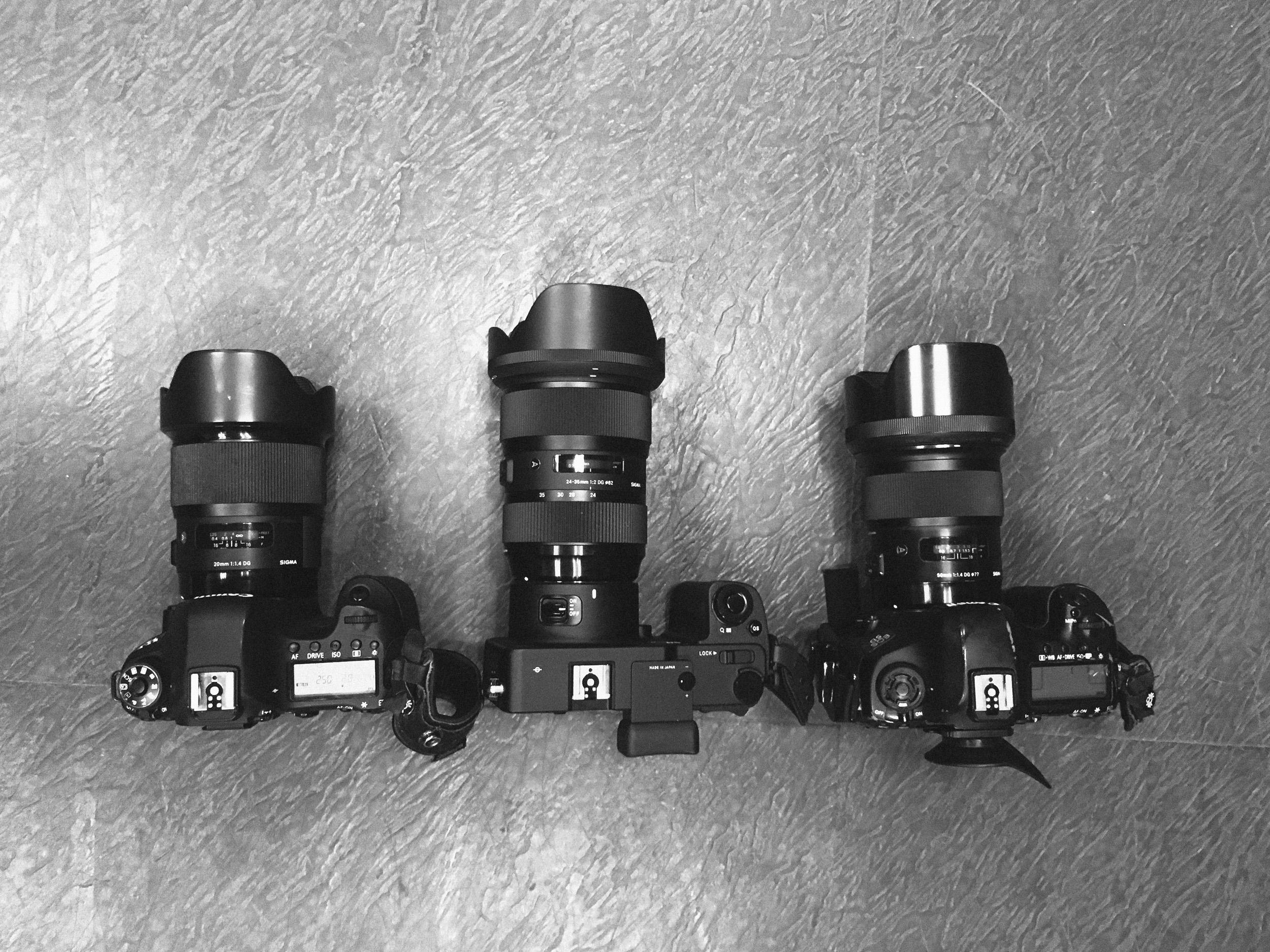 Three camera rig
