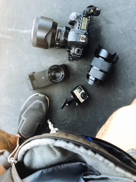 This my setup, Canon 6D with Sigma 20mm, Sigma 85mm, Sigma dp2 Quattro and a GoPro