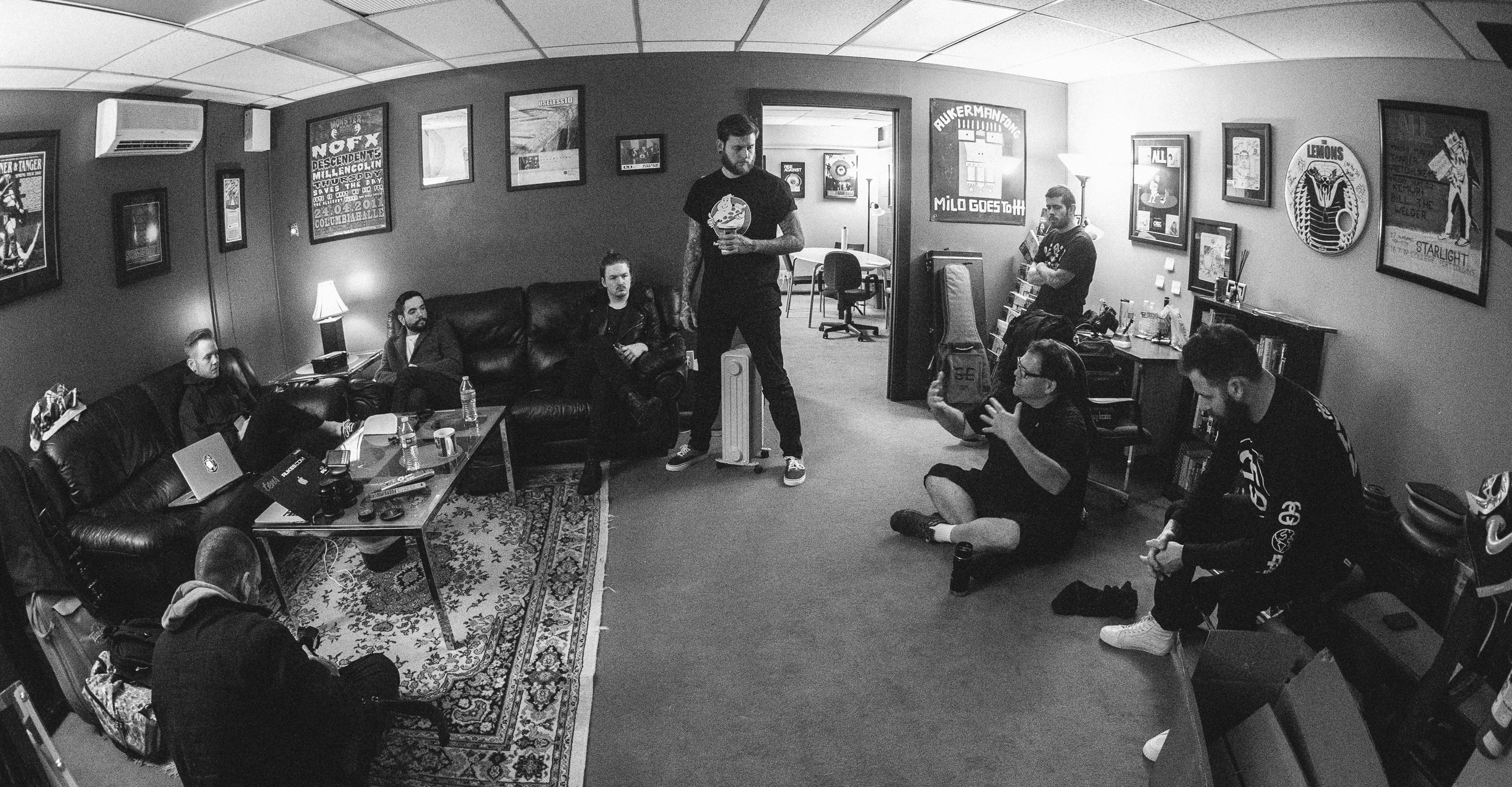 Full band meeting with Producer Bill Stevenson - A Day To Remember in Studio