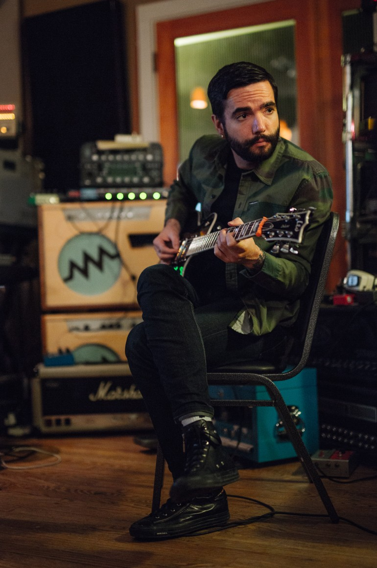 Jeremy plays guitar when writing, kinda cool - A Day To Remember in Studio
