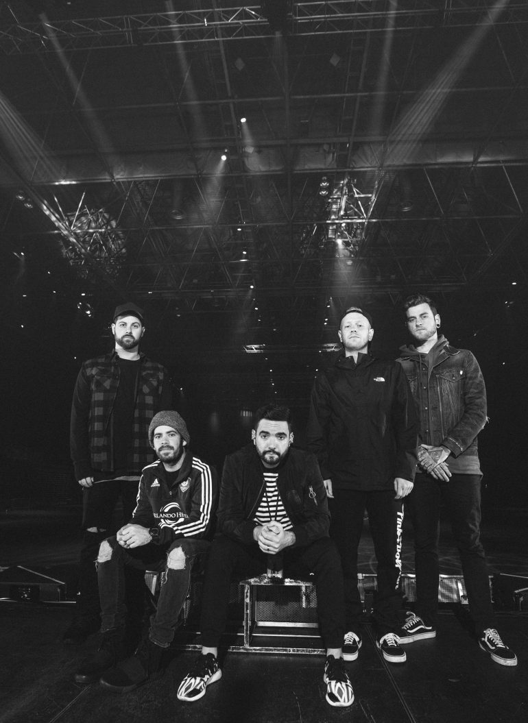 Full band at soundcheck during the A Day To Remember UK Arena Tour