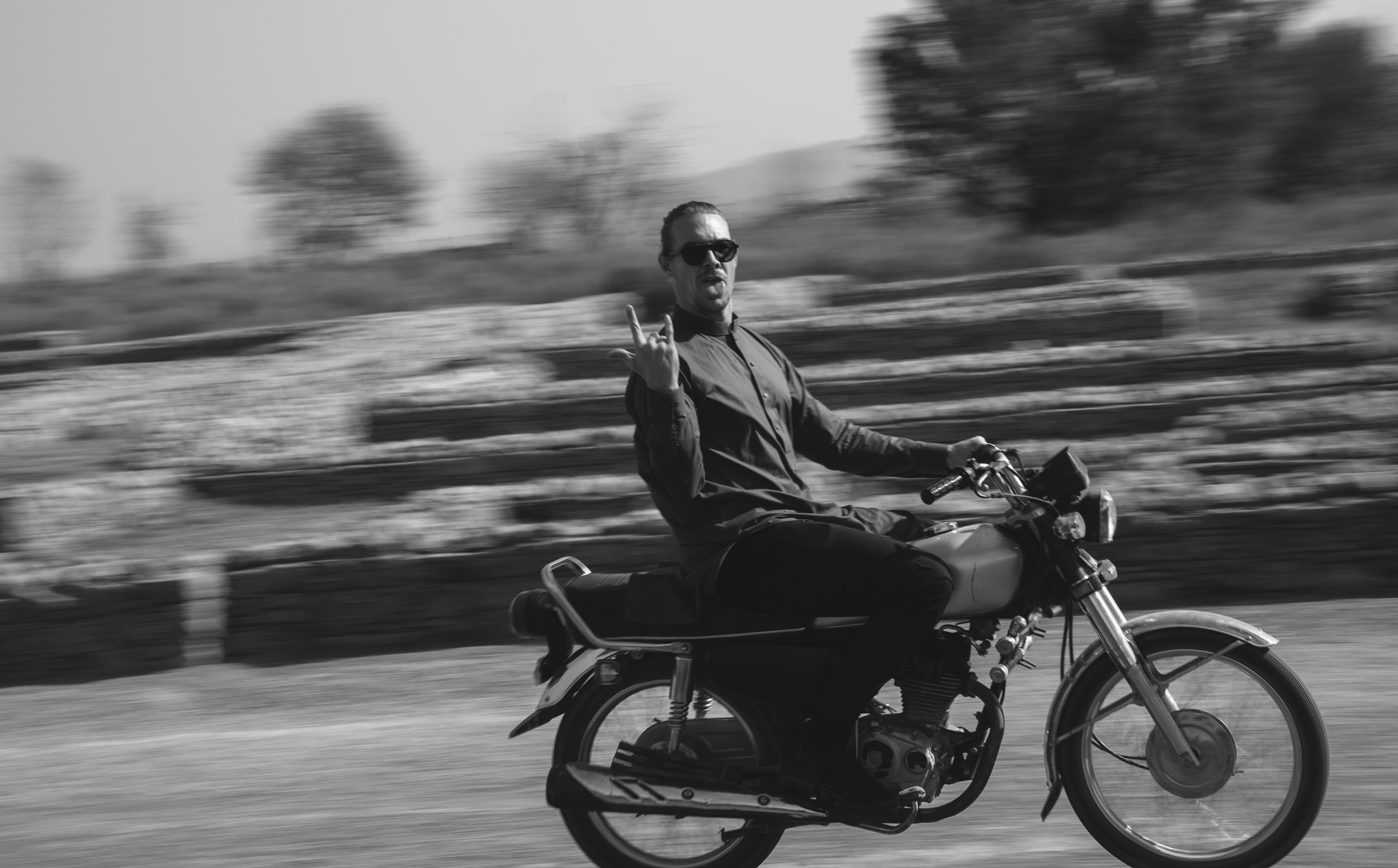 Diplo on a motorbike