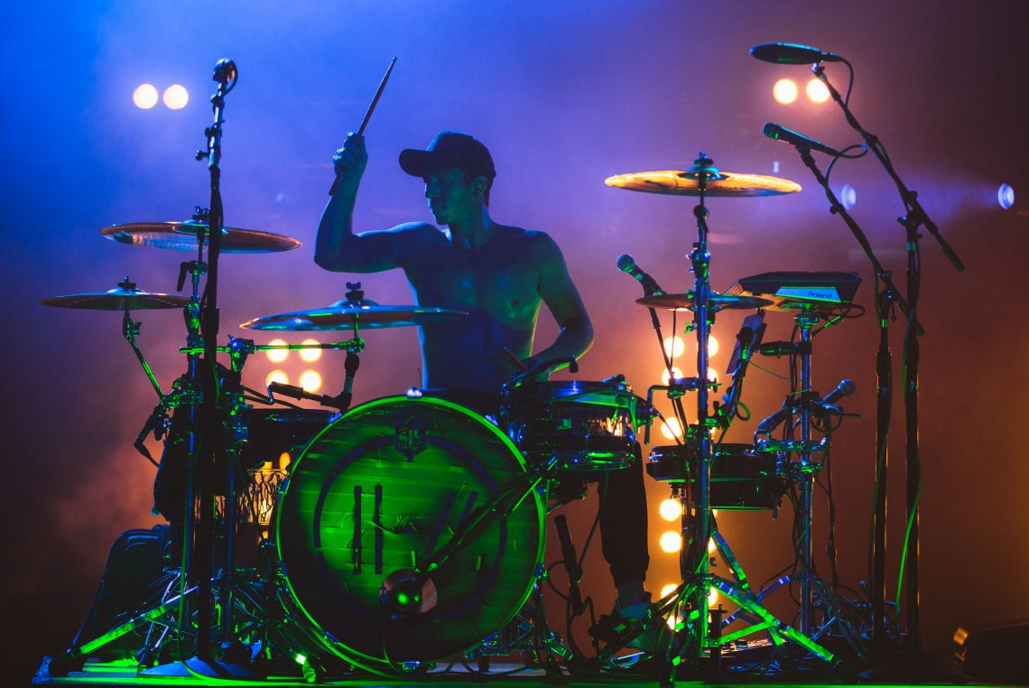 Josh Dun of Twenty One Pilots at O2 Academy Brixton in London, UK on September 12th, 2018
